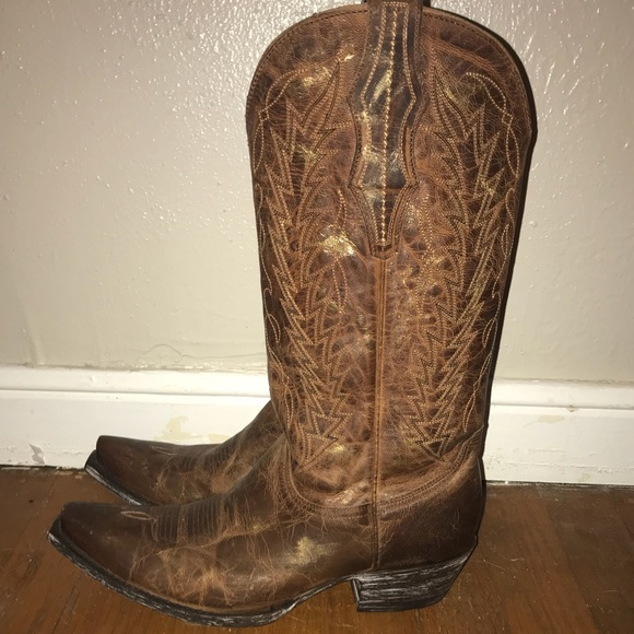 f6b5ff324a7 Cavenders brown gold brush stroke cowboy boots 8